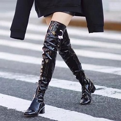 Shoespie Casual Chunky Heel Thigh High Boots