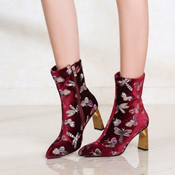 Shoespie Animal Embroidery Chunky Heel Boots