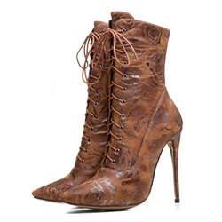 Shoespie Pointed Toe Lace-Up Front Stiletto Heel Boots
