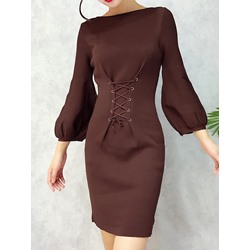 Shoespie Lace-Up Slash Neck Lantern Sleeve Bodycon Dresses