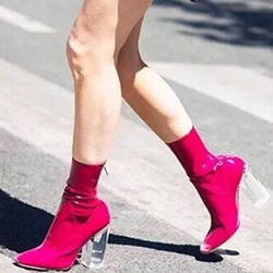Shoespie Rose Red Chunky Heel Sock Boots For Women