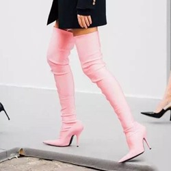 Shoespie Sexy Pink Stiletto Heel Women's Boots