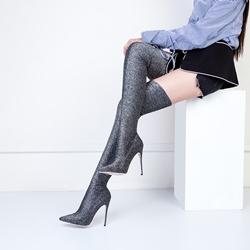 Shoespie Glitter Sexy High Heel Thigh High Boots