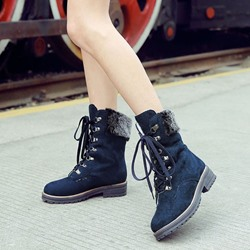 Shoespie Fashion Patchwork Block Heel Martin Boots