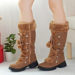 Cross Strap Platform Pompon Knee High Boots