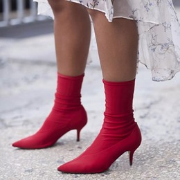 Shoespie Sexy Red Stiletto Heel Sock Boots