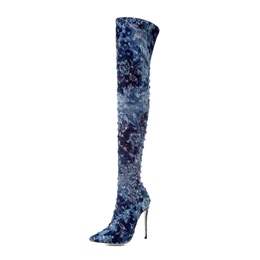 Shoespie Worn Denim Women's Thigh High Boots