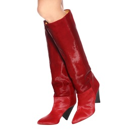 Shoespie Red Shaped Heel Knee High Boots