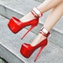 Shoespie Red Patent Leather Platform High Heels
