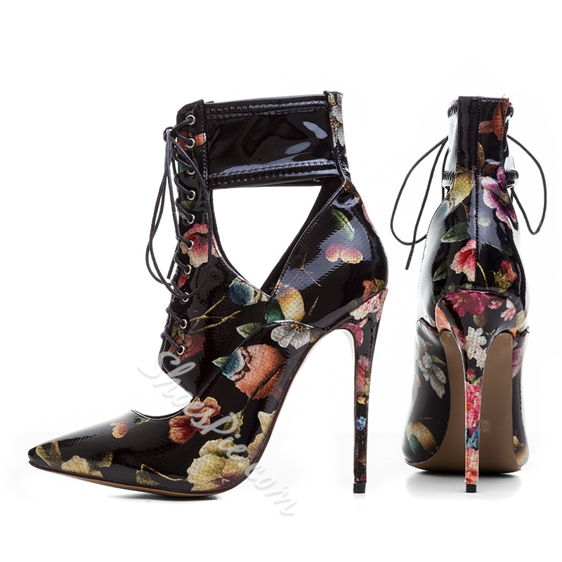 Shoespie Sexy Floral Hollow Stiletto Heel Boots