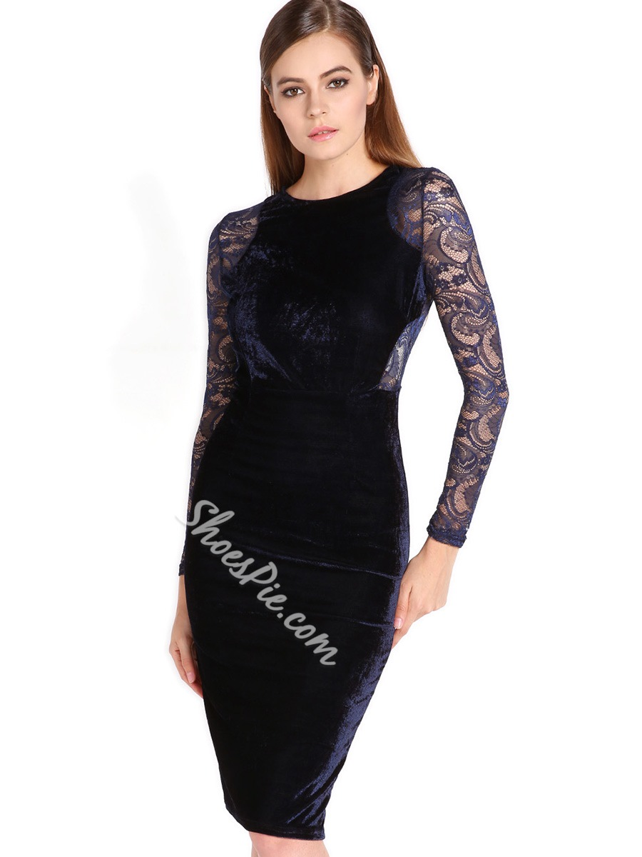 Shoespie Lace Long Sleeve Bodycon Dresses