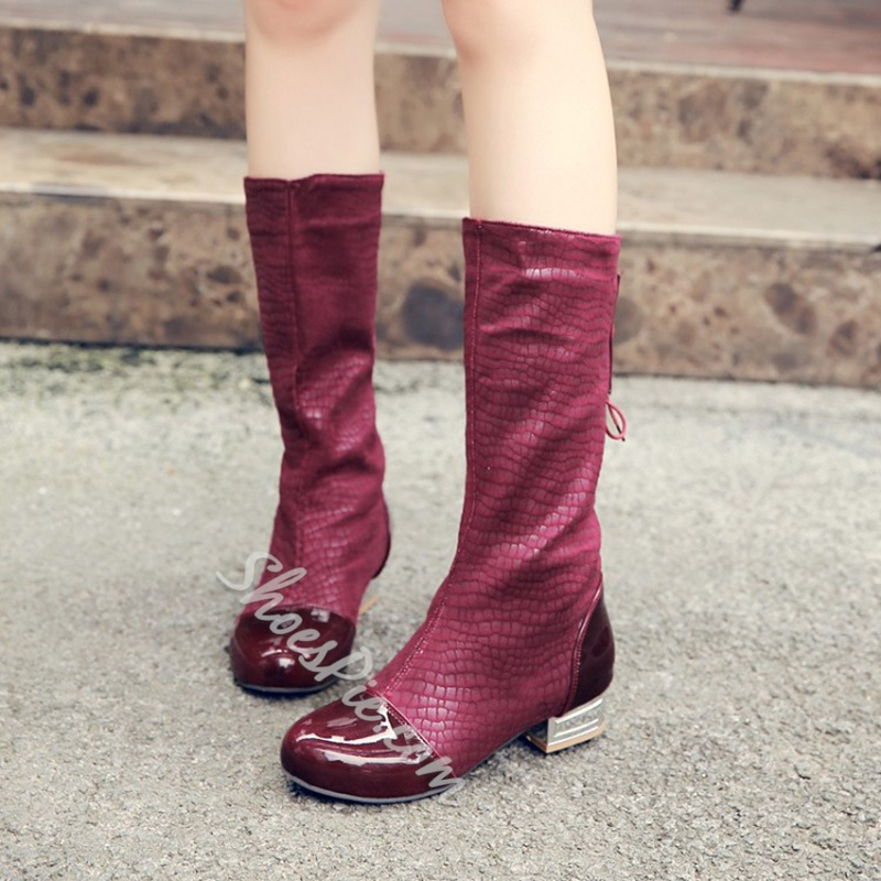 Shoespie Lace-Up Back Block Heel Patchwork Boots