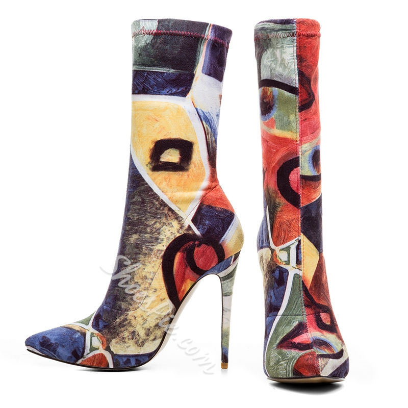 Shoespie Color Block Stiletto Heel Sexy Boots