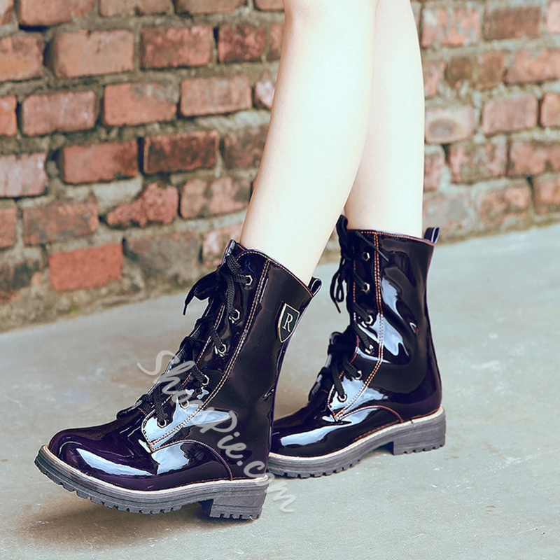 Shoespie Lace-Up Front Patent Leather Martin Boots