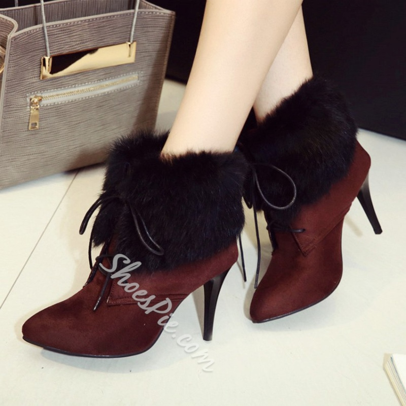 Shoespie Winter Lace-Up Stiletto Heel Boots