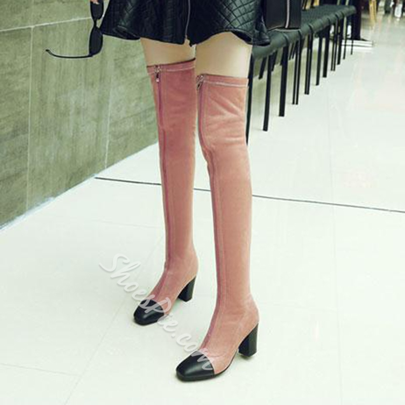 Shoespie Front Zipper Square Toe Knee High Boots