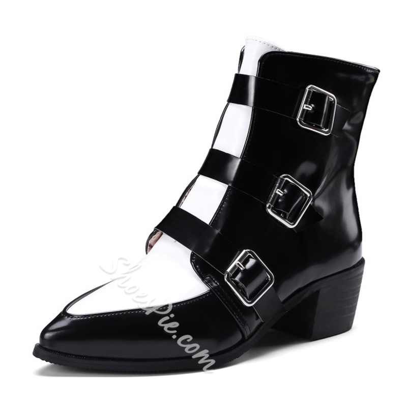 Shoespie Chunky Heel Color Block Ankle Boots