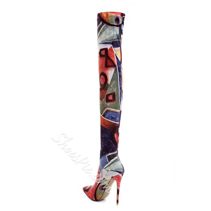 Shoespie Color Block Stiletto Heel Thigh High Boots