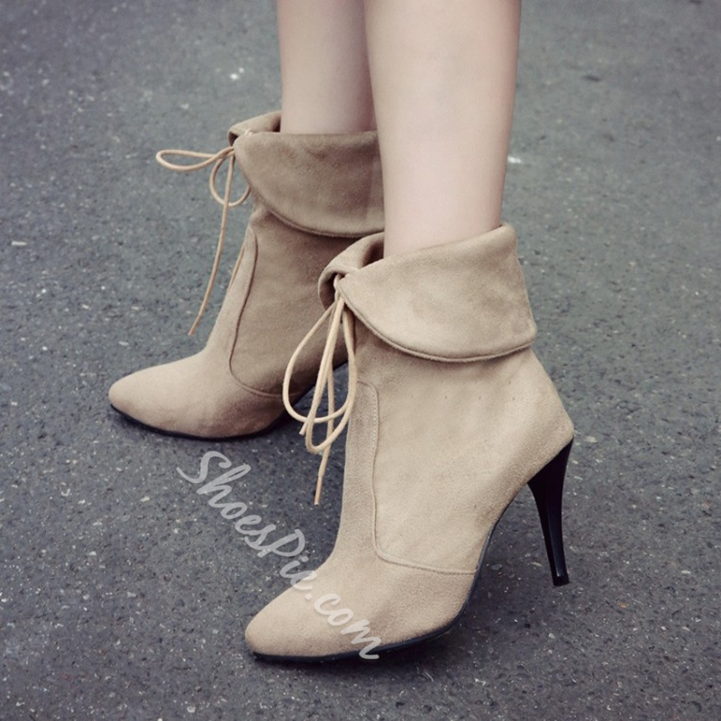Shoespie Lace-Up Front Stiletto Heel Fashion Boots