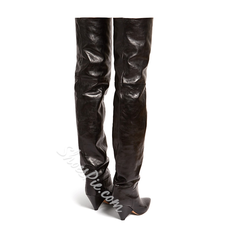 Shoespie Black Shaped Heel Thigh High Boots