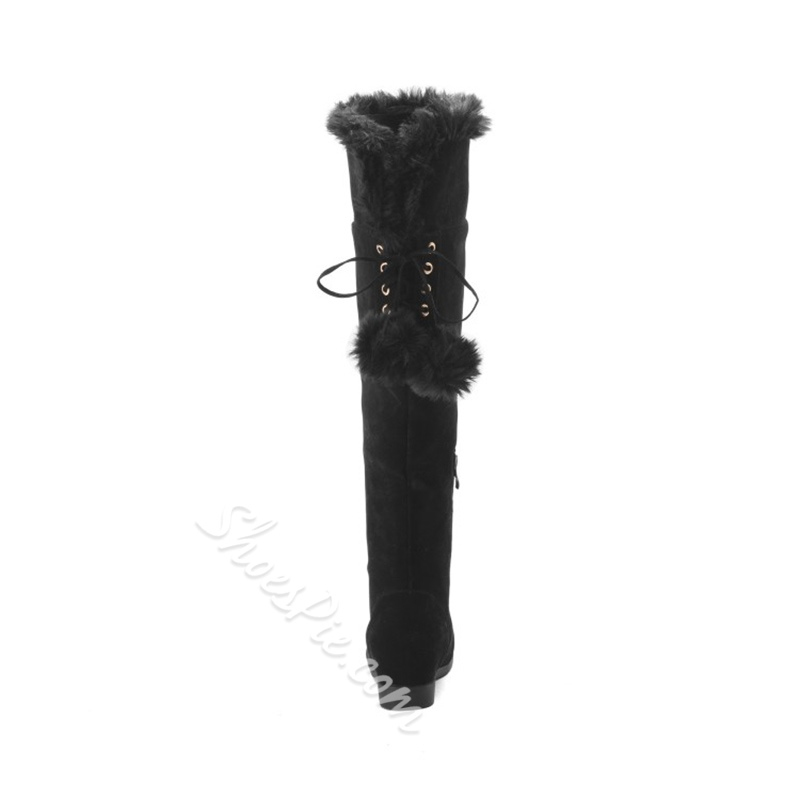 Lace-Up Pompon Block Heel Knee High Snow Boots