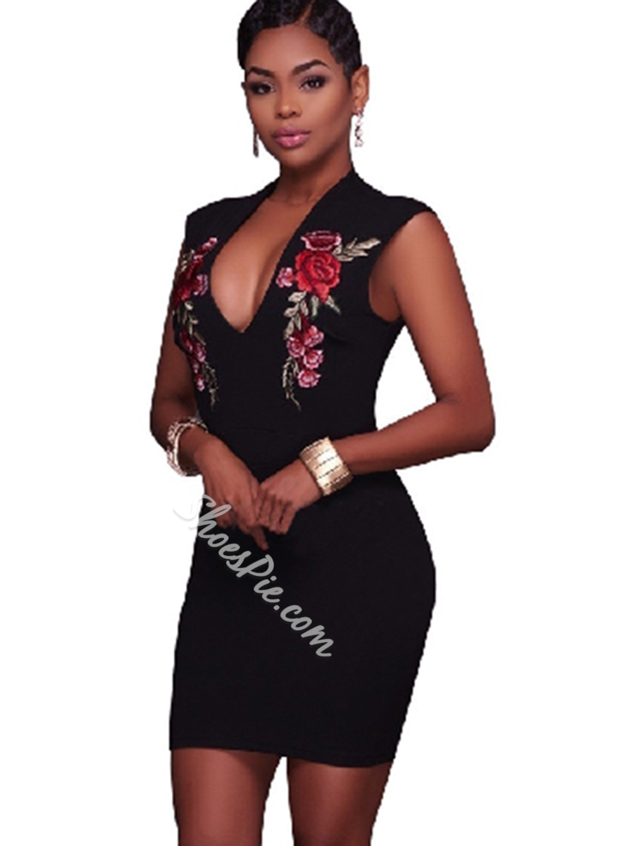 Embroidery Print Floral V-Neck Bodycon Dresses