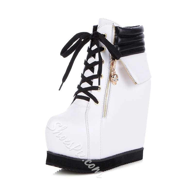 Shoespie Lace-Up Hidden Elevator Heel Women's Sneaker