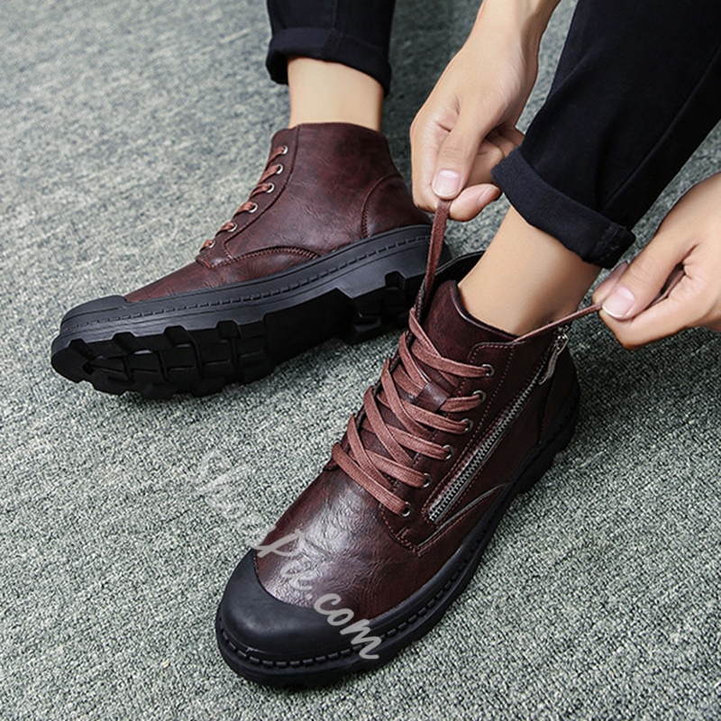 Shoespie Zipper Lace-up Casual Men Shoes