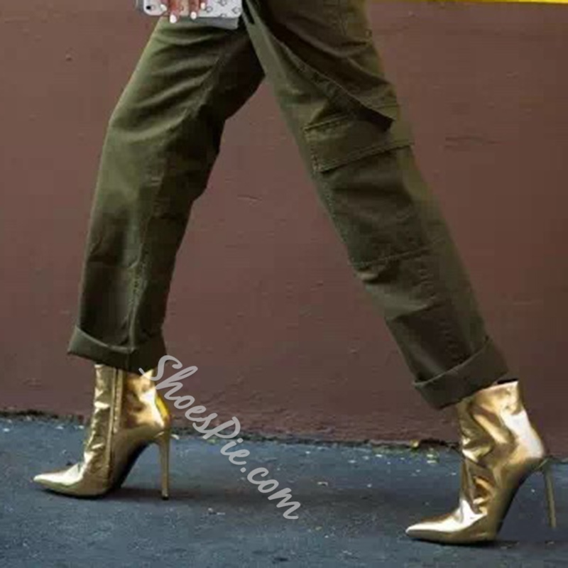 Shoespie Golden Stiletto Heel Women's Boots