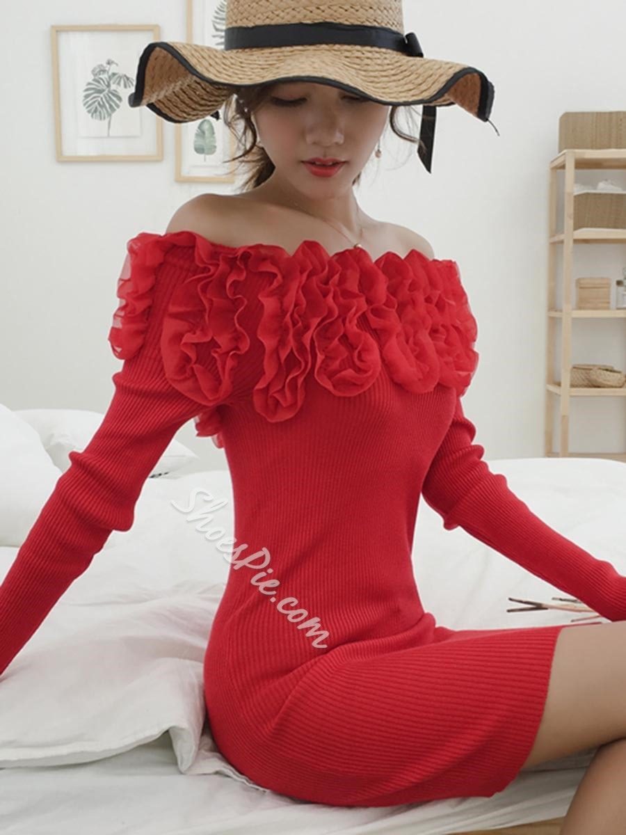 Shoespie Sexy Slash Neck Long Sleeve Pullover Bodycon Dress