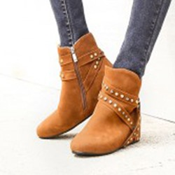 Shoespie Rivet Hidden Elevator Heel Women's Boots