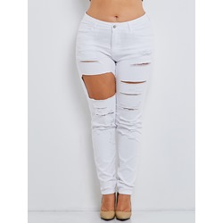 Hole Plus Size Zipper Women's Jeans