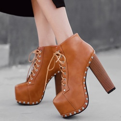 Shoespie Chunky Heel Rivet Platform Lace-Up Women's Boots
