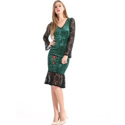 Falbala Embroidery Lace Bodycon Dresses