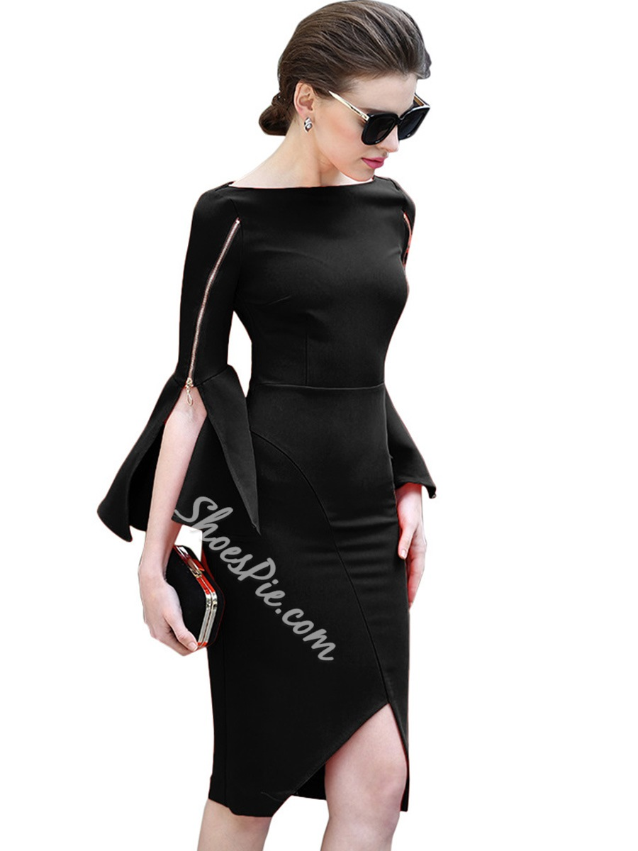 Slash Neck Flare Sleeve Bodycon Dresses
