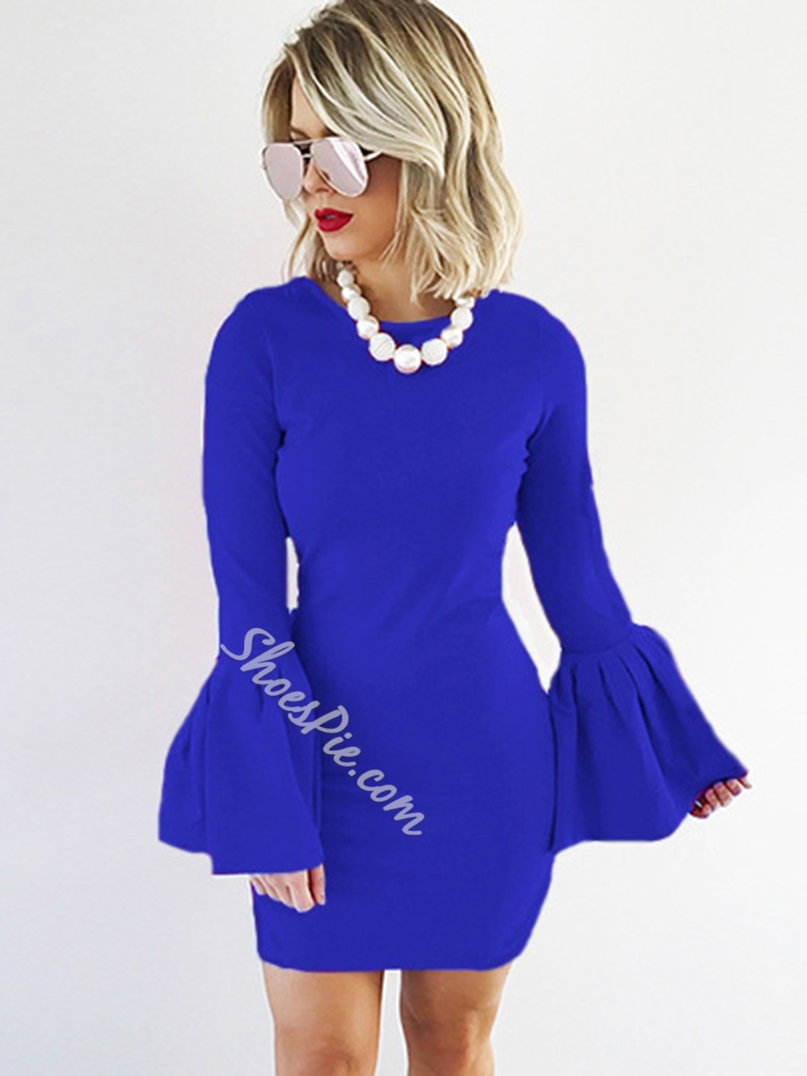 Round Neck Long Flare Sleeve Bodycon Dresses