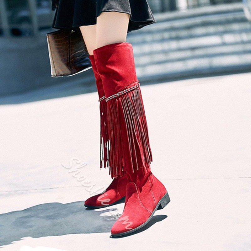 Shoespie Chain Tassel Flat HeelKnee High Boots