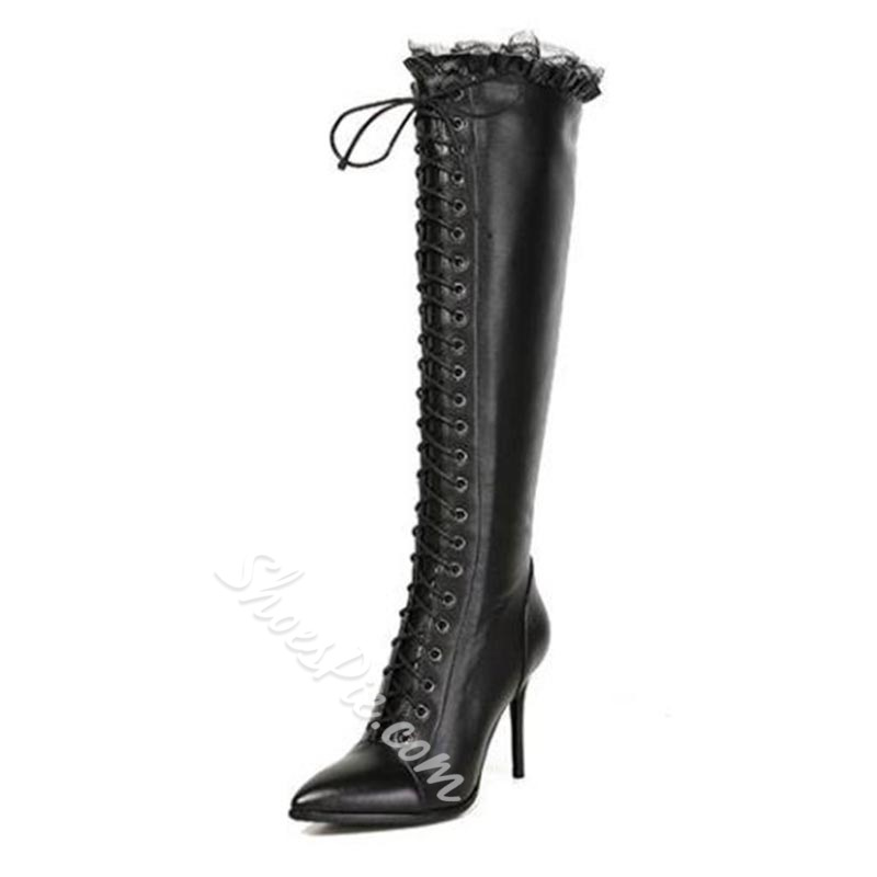 Shoespie Stiletto Heel Cross Strap Lace Ruffles Knee High Boots