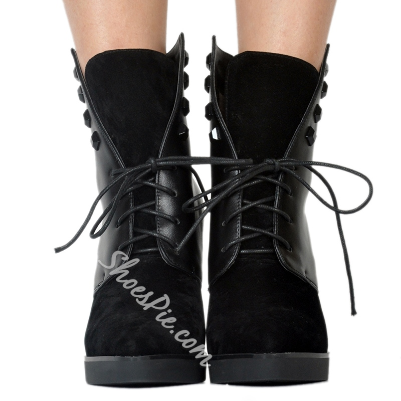 Shoespie Black High Heels Rivet Lace-Up Boots