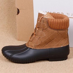 Casual Lace-Up Color Block Duck Boots