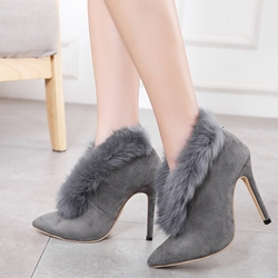 Fluffy Slip-On Stiletto Heel Women's Boots