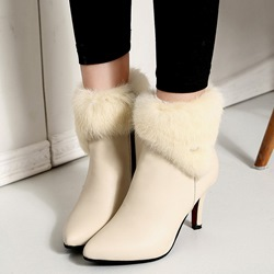 Winter Fluffy Chunky Heel Women's Boots