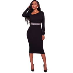 Long Sleeve Oblique Collar Bodycon Dresses