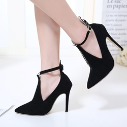 Shoespie Buckle Patchwork Stilettto Heels