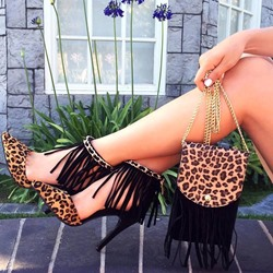 Leopard Fringe Sexy High Stiletto Heels