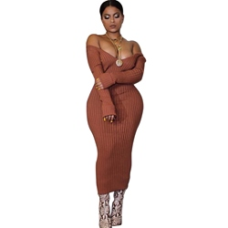Sexy Long Sleeve V-Neck Bodycon Dresses