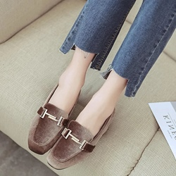 Shoespie Chunky Heel Double T Loafers