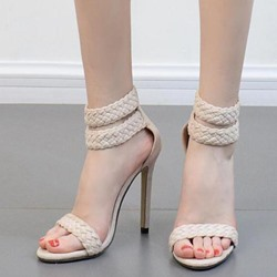High Stiletto Heel Plain Open Toe Dress Sandals