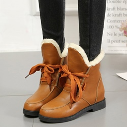Casual Winter Lace-Up Front Flat Heel Boots