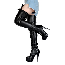 Shoespie Stiletto Heel Rivet Platform Thigh High Boots